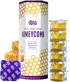 Pass The Honey Single-Serve Honeycomb 100% Pure Raw Unfiltered Honey - Snacking, On-the-Go Honey Packets (1 Box / 7 Packs)