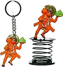 VRINDAVANBAZAAR.COM Lord Hanuman Flying with sanjeevani Mountain Fun Spring and Key Ring Combo