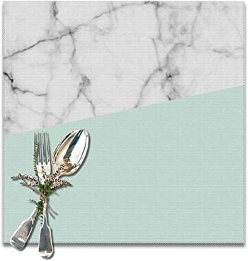 Jianyue Real White Marble Half Pastel Mint Green Placemats for Dining Table Heat-Resistant Kitchen Banquet Party Table Mats Set of 6,(12x12inch)