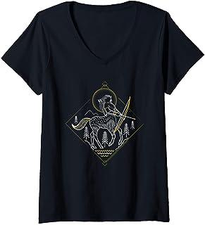 Femme Harry Potter Centaur Line Art T-Shirt avec Col en V