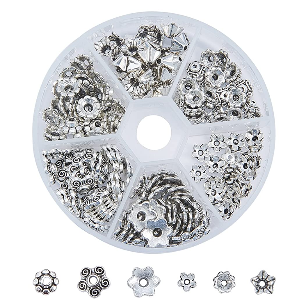 Pandahall 180pcs 6 Styles Tibetan Style Alloy Flower Bead Caps for Jewelry Making, Antique Silver