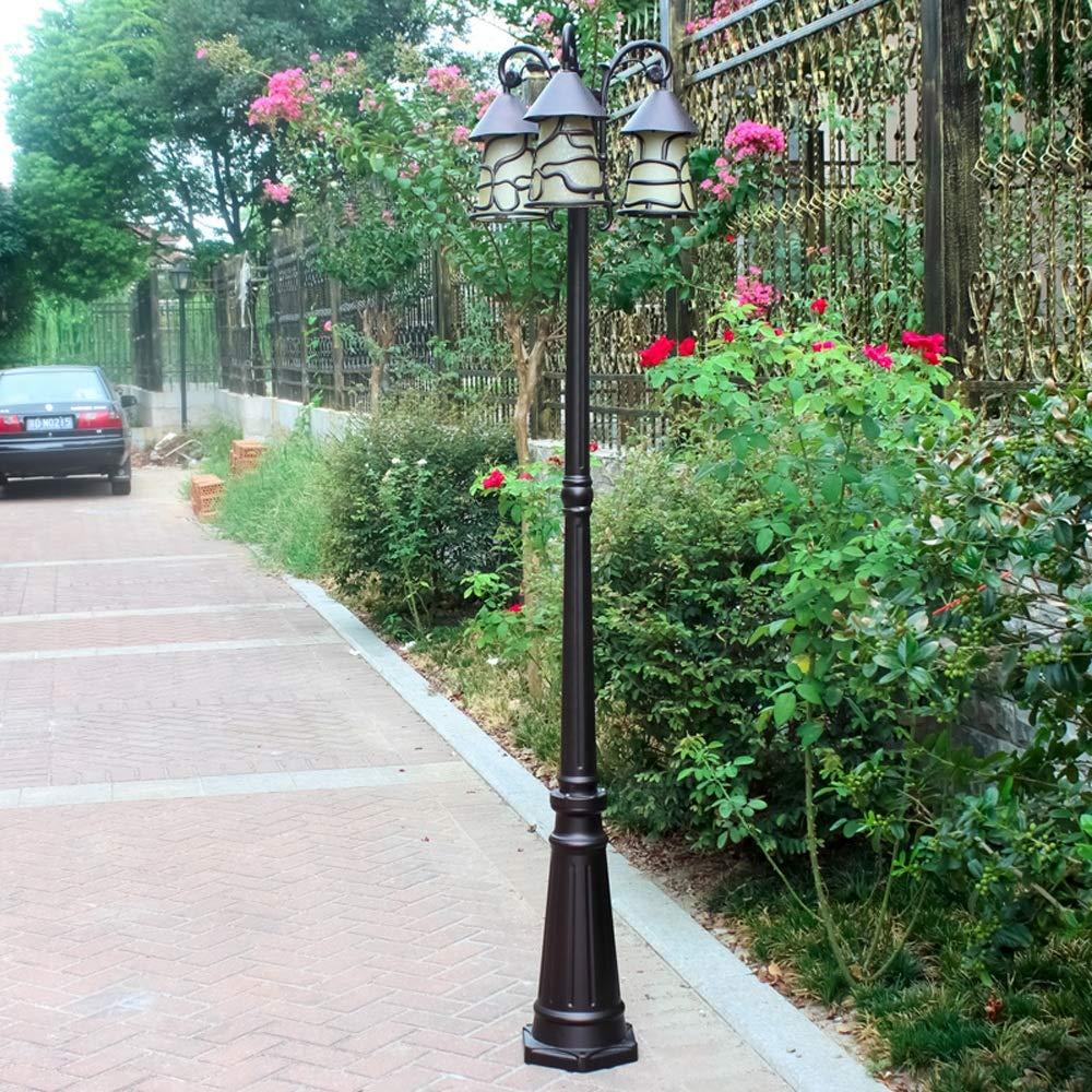 Meidn 200cm 3 cabezas de la columna del jardín Césped Farola inoxidables de alta Polo lámpara linterna paisaje del camino externo Spotlight Victoria Cortina de cristal pedestal de luz Comunidad ilumin: Amazon.es: