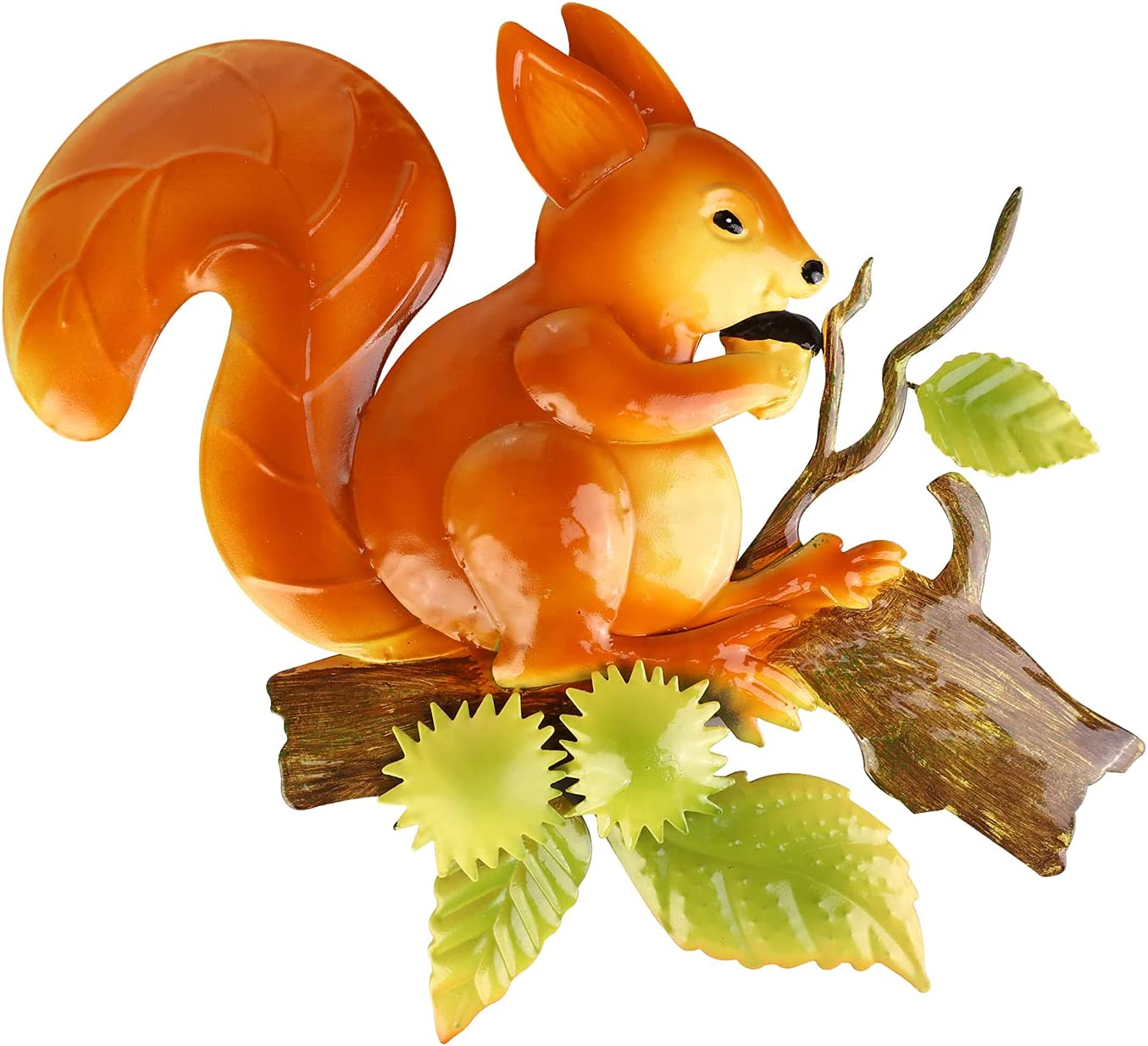 Scwhousi Metal Squirrel Wall Decor Outdoor Garden Fence Art,Hanging Decorations for Living Room