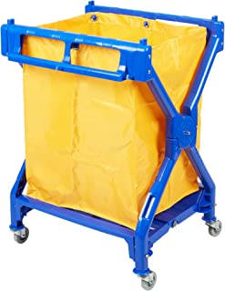 Commercial Lodging Laundry/Trash Cart, Folding Rolling with Bag, 10 Bushel