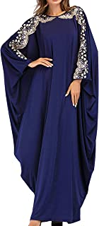 Women Muslim Maxi Dress Abaya - Lady Long Sleeve Maxi Dress Dubai Gown Jalabiya One Size Navy Blue