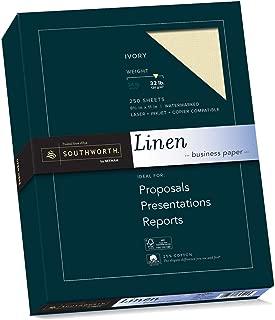 Southworth Linen Business Paper, Ivory, 32 Pounds, 250 Count (J568C)