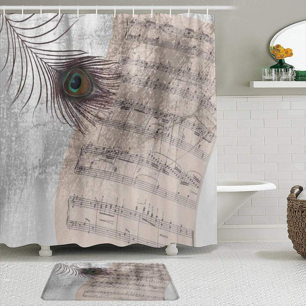 Max 68% OFF NIKIVIVI 2 Piece Shower Curtain Set Rugs Non Slip Old Music with Max 41% OFF