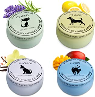 Scented Candles Gift Set (Lemon & Citrus, Vanilla & Honey, Mango & Jasmine, Lavender & Green Tea) Aromatherapy Deodorizing Soy Candle For Pets, Candles Scented, Pet Odor Eliminator & Animal Lover Gift