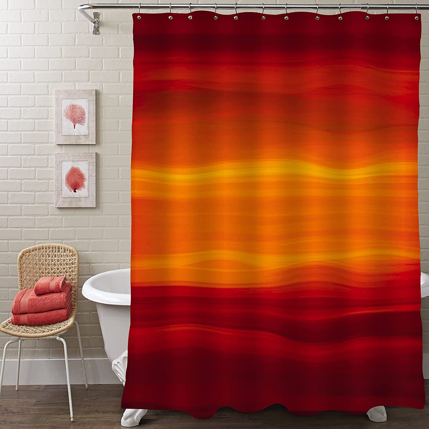 MitoVilla Orange Extra Long Shower Curtain In Burnt Save money Super Special SALE held 96 O Length