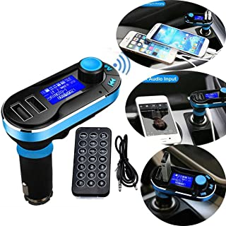 SOONHUA Car Bluetooth FM Transmitter, Wireless in-Car Radio Bluetooth Adapter 5in1 Car Kit Music Player Hand-Free Calling with Remote AUX Cable Dual USB Support SD/TF Card for iPhone Samsung (Blue)