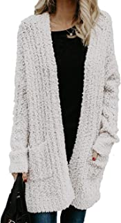 HZSONNE Womens' Boho Fuzzy Knitted Cardigan Chunky Sweater Sherpa Fleece Pointelle Full Sleeve Blouse