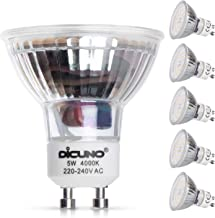 DiCUNO GU10 LED lamp, 5W, 600LM Spotlight, Neutraal wit 4000K, AC 200-240V, Vervanger voor 50W halogeenlamp, Niet dimbaar,...
