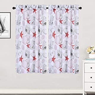 Haperlare Cafe Curtains, Starfish Pattern Short Bathroom Window Curtain, Seashell Conch Design Half Window Covering Kitchen Tier Curtains, 30