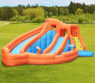 GT-Wheel Inflatable Water Slide with Twins Slide and Big Bobo Pool, Water Park for Children.