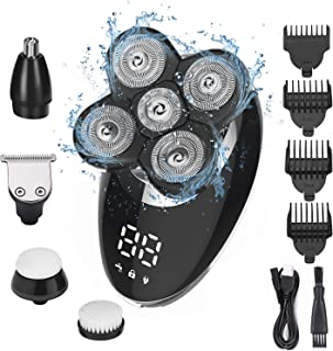 Ehpow Electric Shavers for Men Bald Head Shaver LED Display Rechargeable Electric Rotary Shaver 5 in 1 Head Shavers roomin...