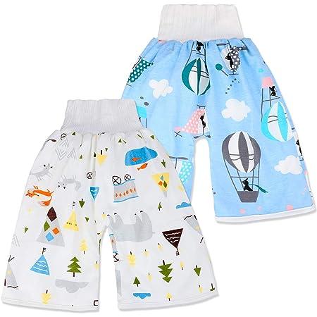 Cloudkids 2 Pack Baby Potty Training Pants Boy/'s Girl/'s Diaper Skirt Kids Cotton Waterproof Diaper Shorts Washable Nappy Skirt