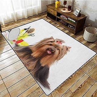 Rectangular Rug,Yorkie,Yorkshire Terrier with Stylish Hairdressing Equipment Mirror Scissors,Large Area mat Dark Brown Multicolor
