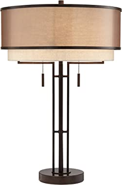 Andes Farmhouse Industrial Modern Table Lamp Dark Oil Rubbed Bronze Brown Metal Tan Double Shade Decor for Living Room Bedroo