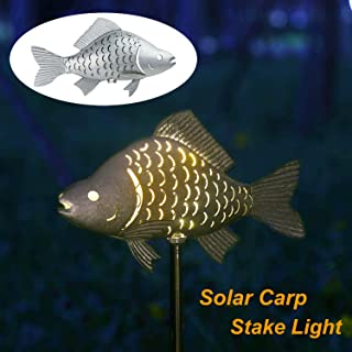 Solar Garden Lights Metal Fish Decorative Stake for Outdoor Patio Yard Decorations,Warm White LED Solar Path Lights,39.4