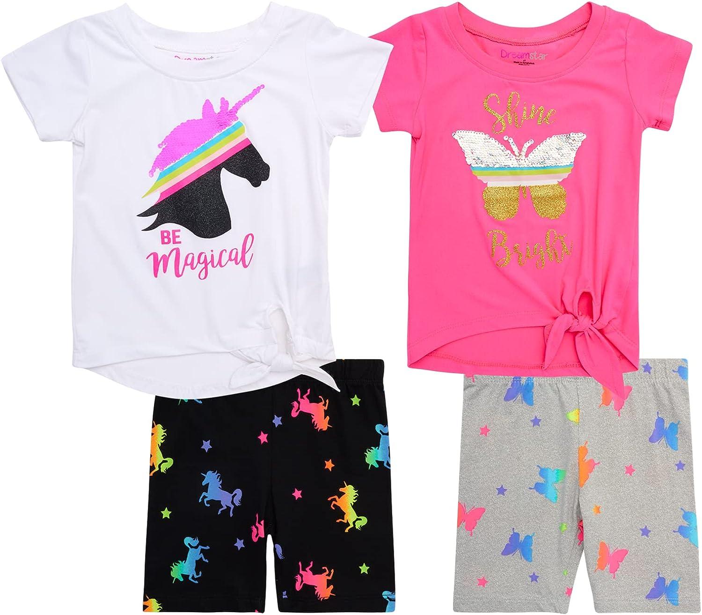 Dreamstar Girls' 4-Piece Short Oakland Mall Seattle Mall Set - Top Tank T-Shirt Super Soft