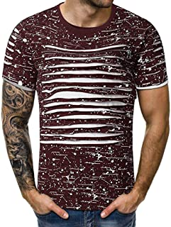RAINED-Men's Summer Tops Casual Printing Zipper T-Shirt Patchwork O-Collar Short Sleeve Shirts Basic Slim Fit Casual Tee
