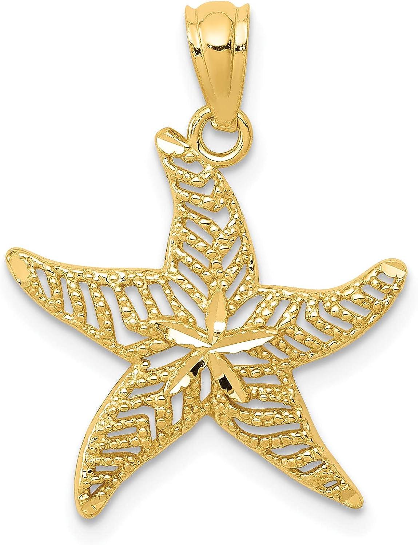 14k Diamond-cut Polished Limited time sale Starfish Pendant specialty shop Filigree
