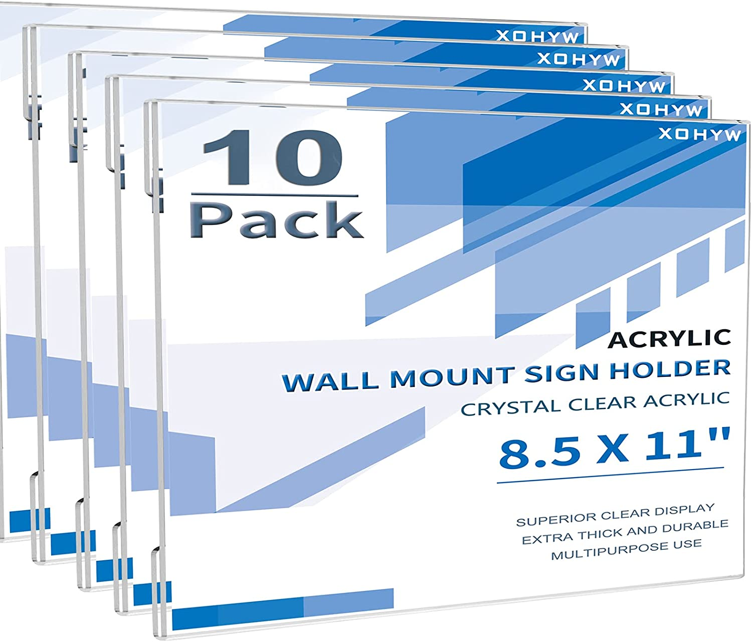 XOHYW 10 Pack Clear Super sale Limited time cheap sale Acrylic Wall Mount Holder 8.5 11 Sign x inch