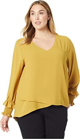 Plus Size Smocked Sleeve Crossover Top