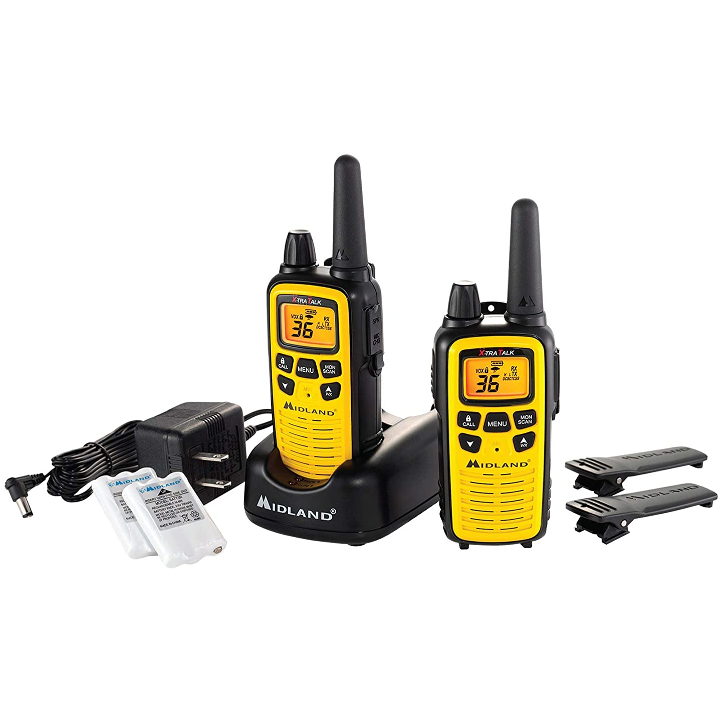 Midland - LXT630VP3, 36 Channel FRS Two-Way Radio - Up to 30 Mile Range Walkie Talkie, 121 Privacy Codes, NOAA Weather Scan + Alert (Pair Pack) (Yellow/Black)
