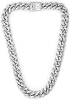 45e0fd006 TRIPOD JEWELRY Hip Hop 12mm White Gold/18K Gold Plated Iced Out Miami Cuban  Link