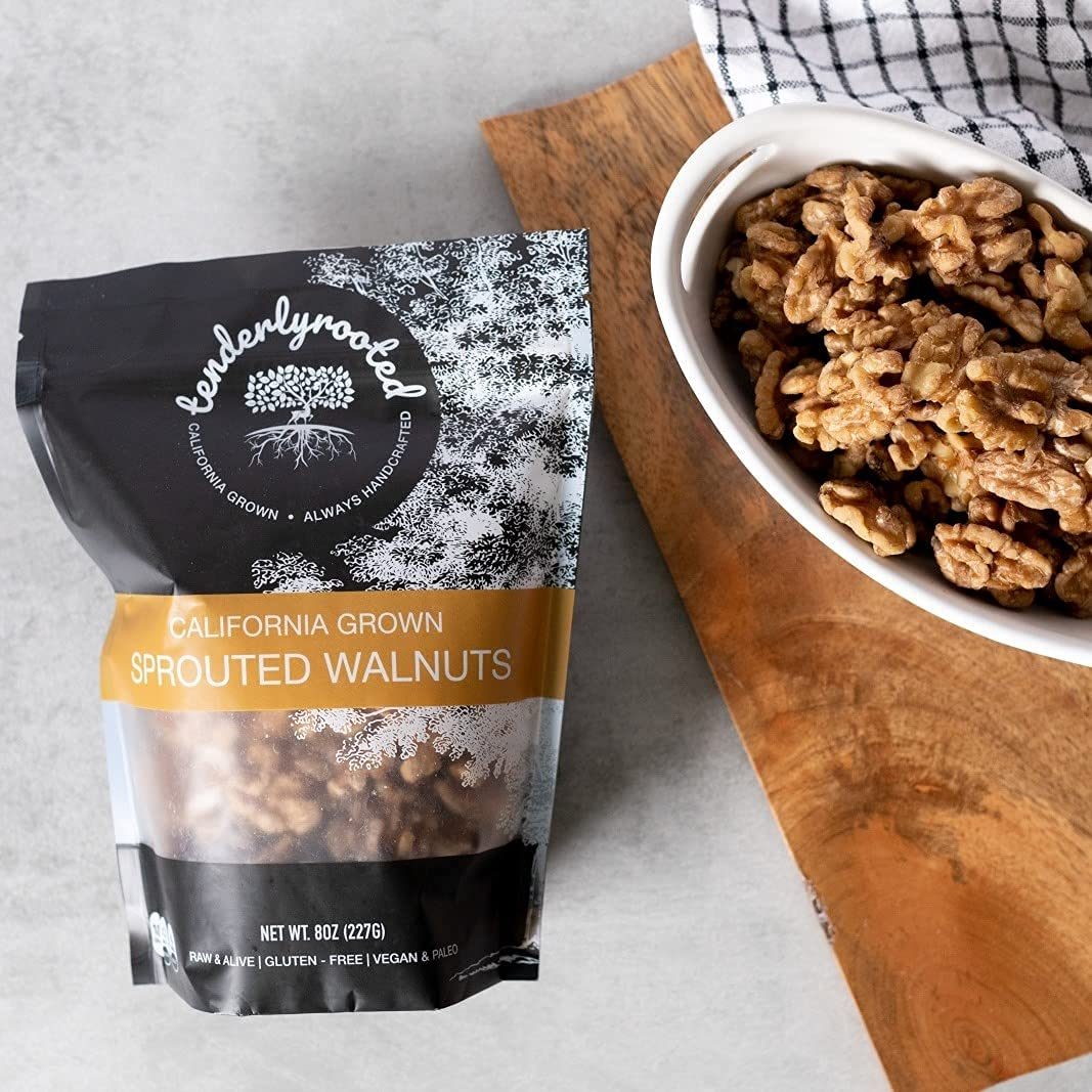 Tenderlyrooted Sprouted Walnuts 8 ounce GMO Finally popular brand Non - size Ranking TOP5 snack