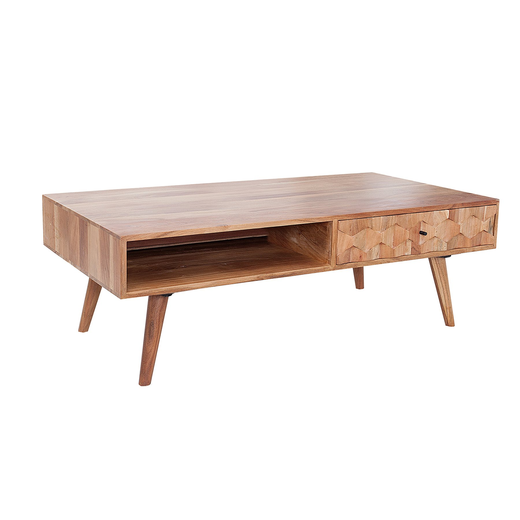 Invicta Interior Design Couchtisch Retro 120 cm Sheesham Stone Finish Massiver Tisch Wohnzimmertisch