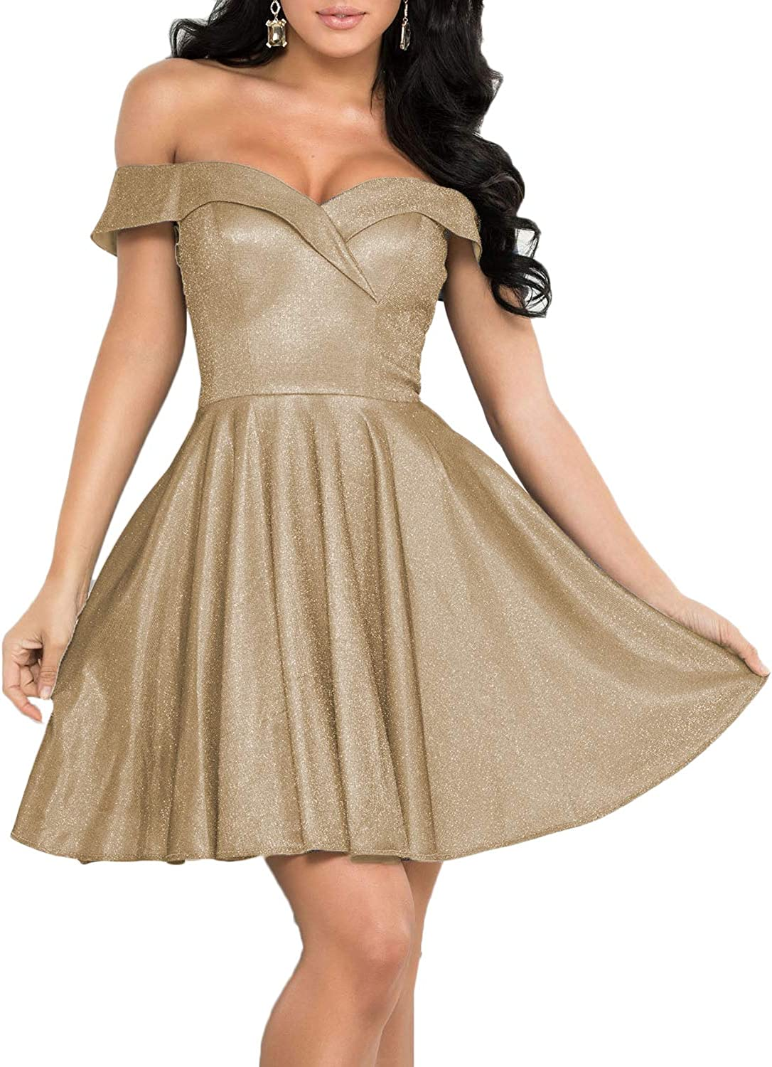 RYANTH Women's Max 57% OFF Off Shoulder Milwaukee Mall Homecoming Dresses Shor Pockets with
