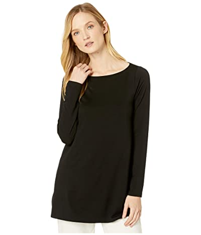 Eileen Fisher Fine Tencel Jersey Bateau Neck Tunic (Black) Women