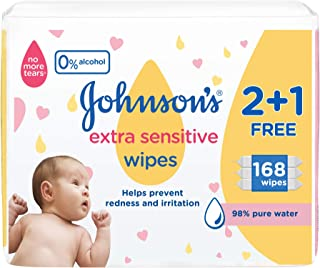 Johnson's Baby Wipes, Extra Sensitive, 98% Pure Water, 56 Wipes (Pack of 3)