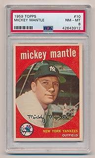 1959 Topps Mickey Mantle #10, PSA 8. Near Mint - Mint, Rare