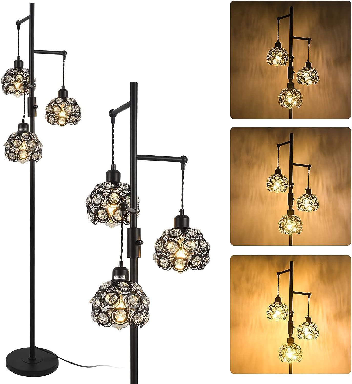 Oakland Mall Stepeak Dimmable Tree Floor Lamp Indu OFFicial shop Light Tall 3 Crystal