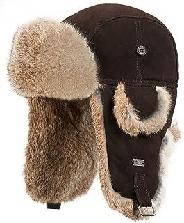 suede leather rabbit fur aviator hat