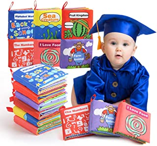 BeebeeRun Cloth Books Baby Toy, 6 Set Non-Toxic Fabric Soft Clothing Book Educational Toys Gifts for 1 Year Old Babies Inf...