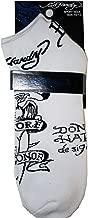 Ed Hardy Unisex Sport Sock Size 10-13 Skull in Fire Black/White
