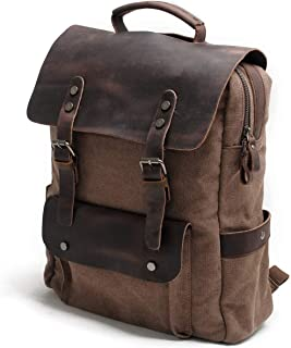 Leather Bag Mens Retro Crazy Horse Leather Outdoor Laptop Men's Canvas Backpack Fashion Casual Travel High Capacity (Color : Brown, Size : 30cm*11cm*38cm)