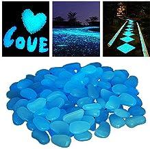 StillCool 100 Pcs Piedras Luminosas Azul, Artificiales Piedras Fluorescentes Decorativas, para Las Calzadas Decoración al Aire Libre Tanque de Peces de Acuario Camino Lawn Yard