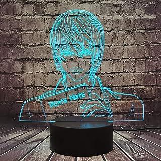 Death Note Lamp Japón Anime Figura Yagami Luz para Niño Sala de estar Dibujos animados Lámpara de noche Mesa LED 7 Color USB Mood Luster Fiesta Cumpleaños Regalo Amigo para Niños Teene