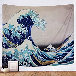 Tenaly Tapestry Wall Hanging, Great Wave Kanagawa Wall Tapestry with Art Nature Home Decorations for Living Room Bedroom Dorm Decor in 59.1x78.7 Inches