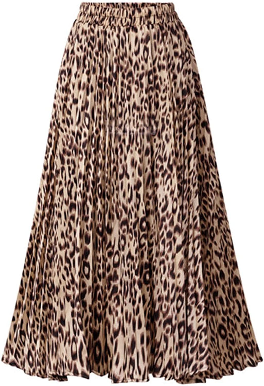 Womens Ladies High Waist Leopard Print High Wasit Swing Midi Skirt Size 10-14