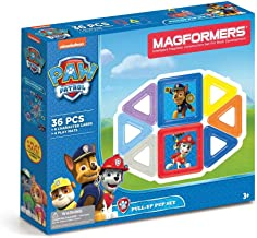Magformers Paw Patrol 36 Pieces Pull Up Pup Set, Rainbow Colors, Educational Magnetic Geometric Shapes Tiles Building STEM...