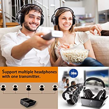 ARTISTE ADH300 Wireless Headphones for TV with RF Transmitter for Netflix Hulu Watching and Listening-Digital Over Ea...