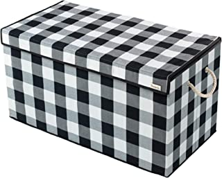 Nest & Be X-Large 30-inch Toy Storage Chest - Collapsible, Buffalo Plaid, Durable Sides w/Divider, and Attached, Flip-Top Lid. For Home Organization, Nursery, Kids playroom, Pet items, Closet