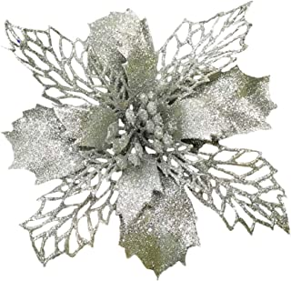 Festivous Wishel Silver New Glitter Artificial Wedding Christmas Flowers Glitter Poinsettia Christmas Tree Ornaments Pack of 12 (Silver)