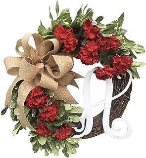 Burlap Wreath Housewarming Gift for Front Door Decor Monogram Gift for Couple